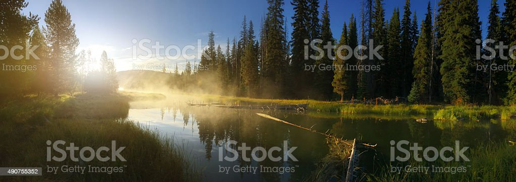 Calm misty river at sunrise stock photo