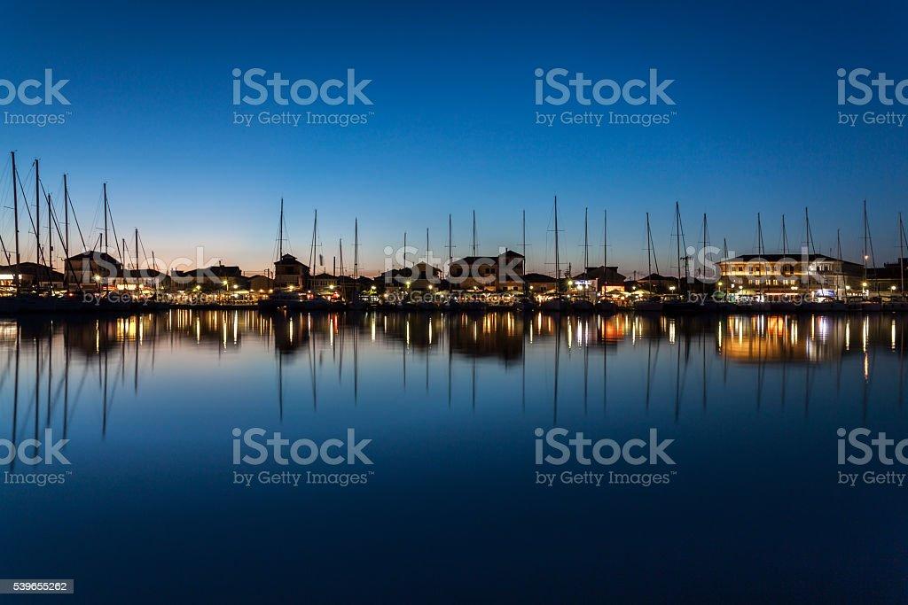 Calm night in Lefkas, Greece. stock photo