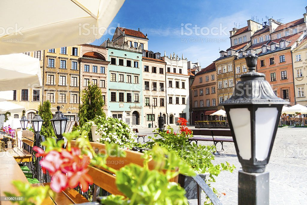 Calm old town square in Warsaw stock photo