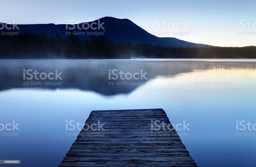 Calm Pond with Boardwalk stock photo