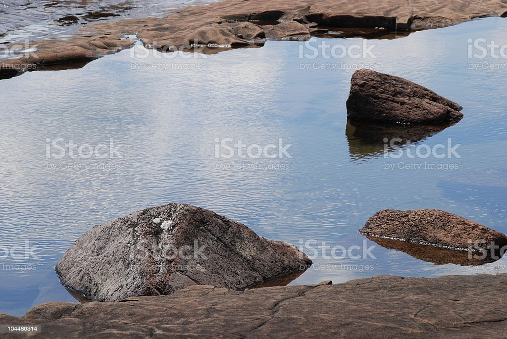 Calm Reflecting Lake with Rocks royalty-free stock photo