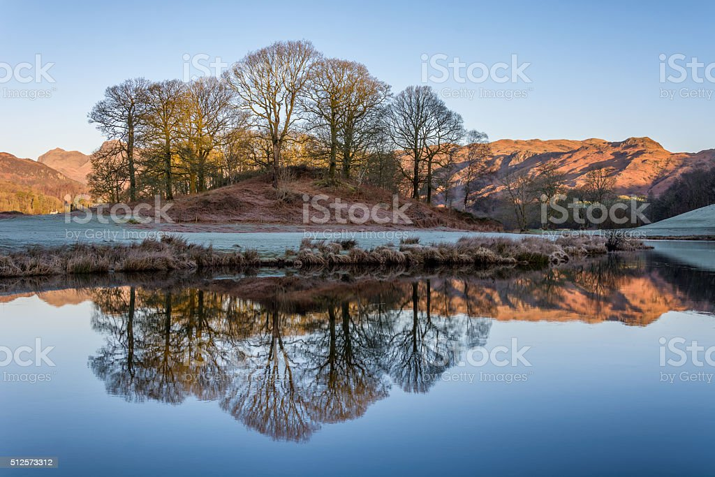 Calm Reflections Of Trees In Water With Mountains In Background. stock photo