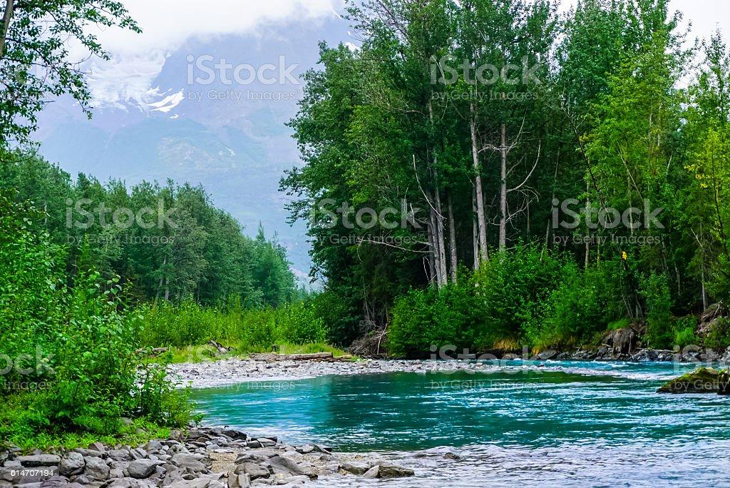 Calm river flows through the Alaskan Mountains stock photo