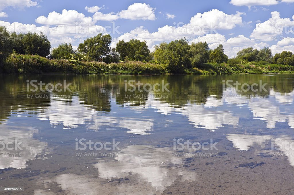 Calm river in summer stock photo