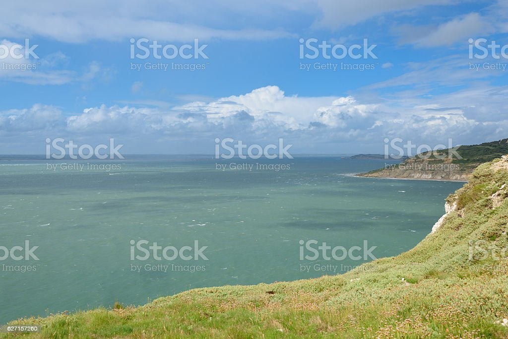 Calm sea, The Isle of Wight, Alum Bay stock photo
