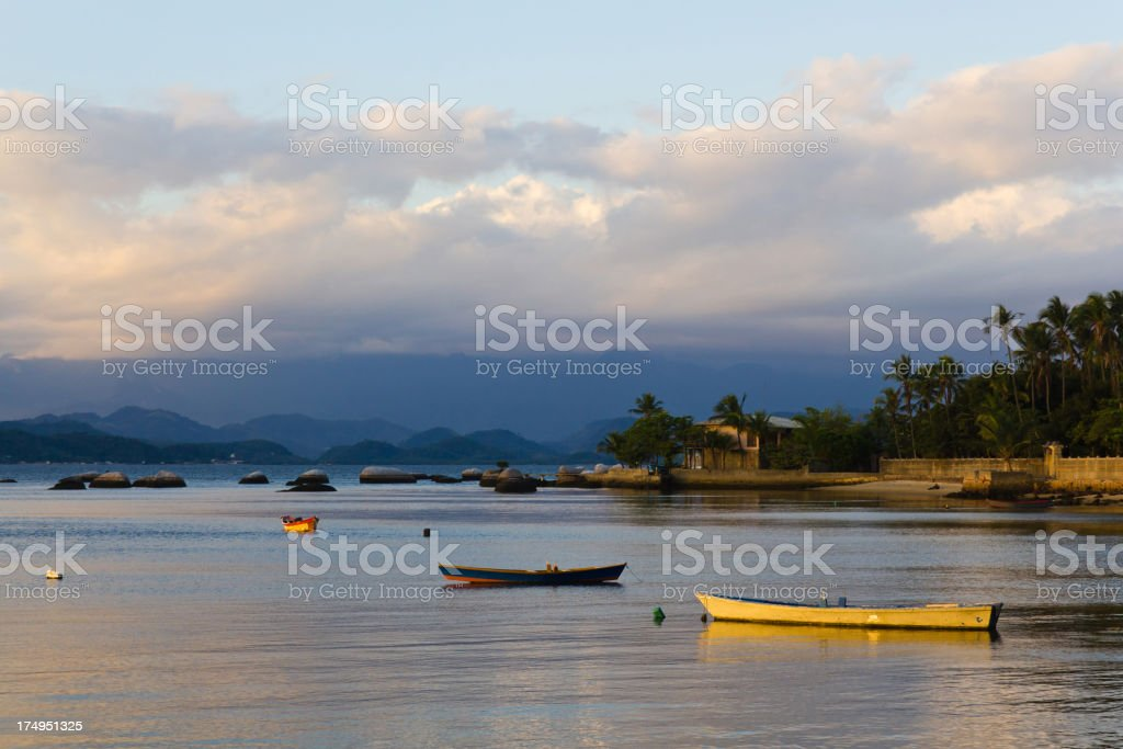 Calm sea with boats at Paquetá royalty-free stock photo