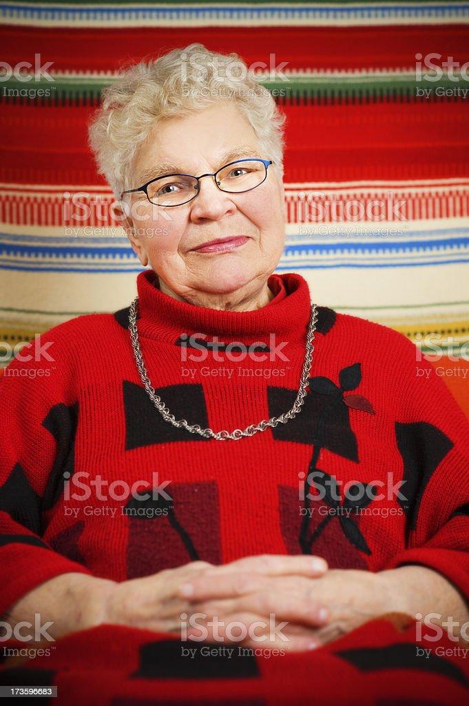 Calm senior lady stock photo