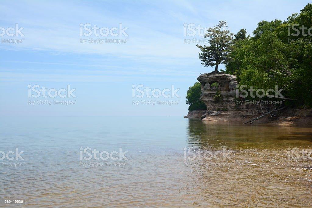 Calm Summer Day at Chapel Rock on Lake Superior royalty-free stock photo