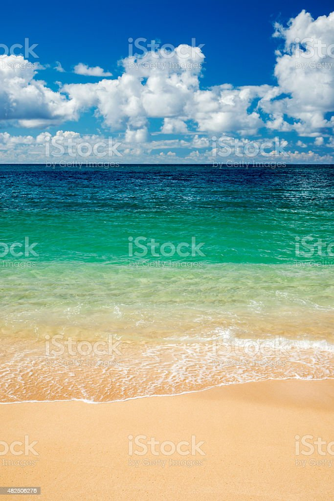 Calm summer day, Banzai Pipeline, North Shore, Oahu, Hawaii stock photo