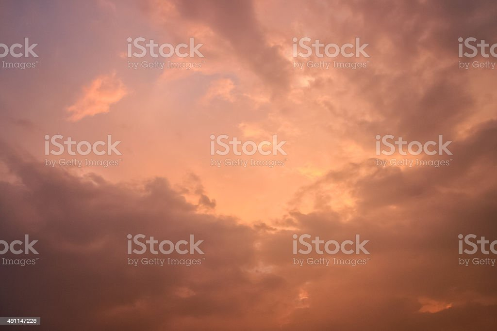 Calm sunset clouds stock photo