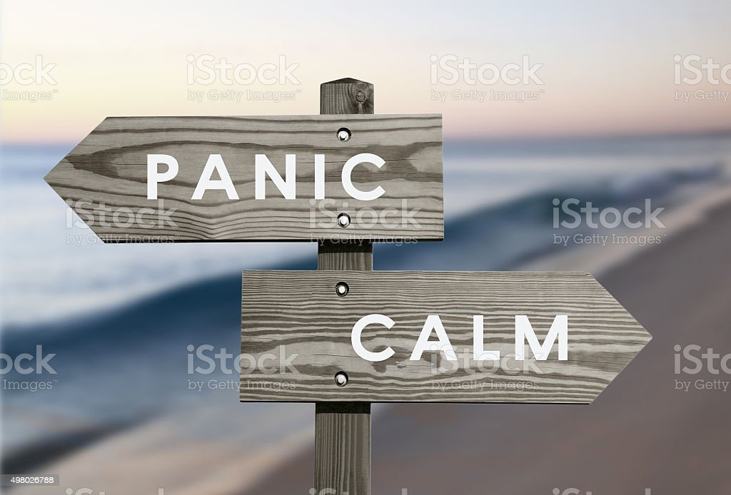 Calm vs Panic stock photo
