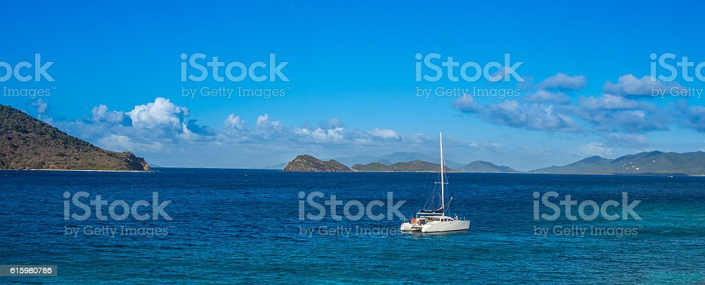 Calm water of tropical bay stock photo