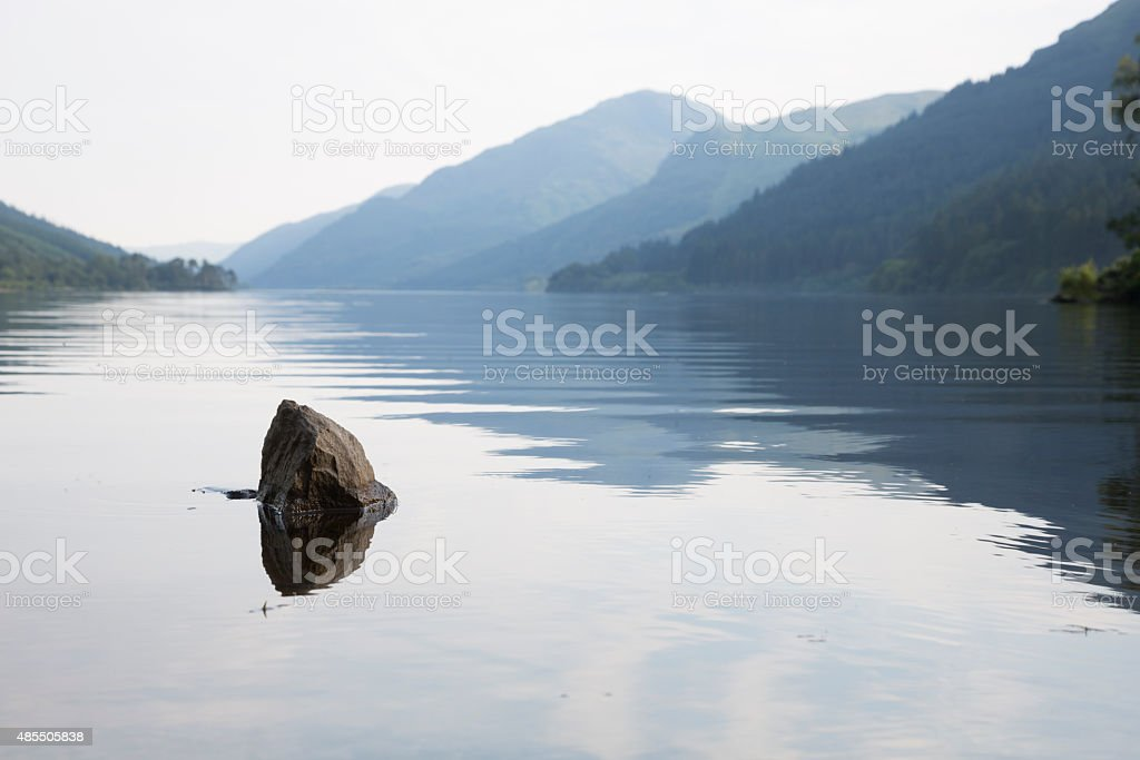 Calm Water On Loch Eck in Scotland stock photo