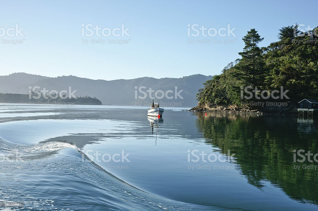 Calm water rippled by passing boat. royalty-free stock photo