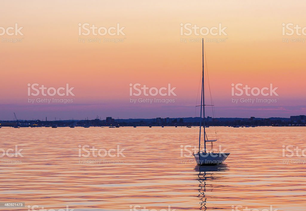 Calm waters and boats in Poole Harbour stock photo
