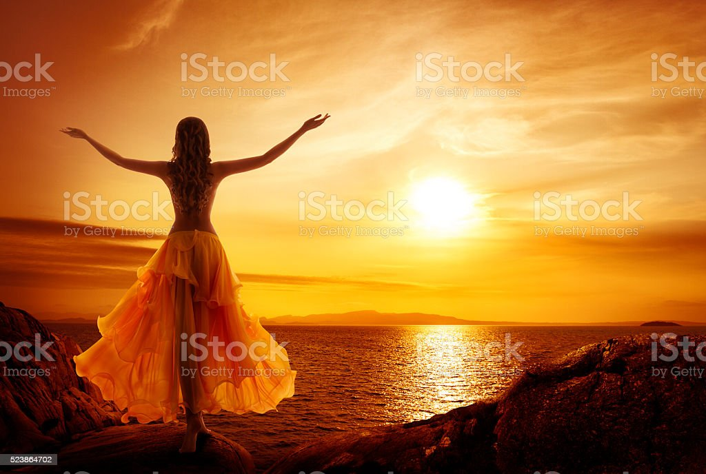 Calm Woman Meditating, Sunset Relax, Open Arms Pose stock photo