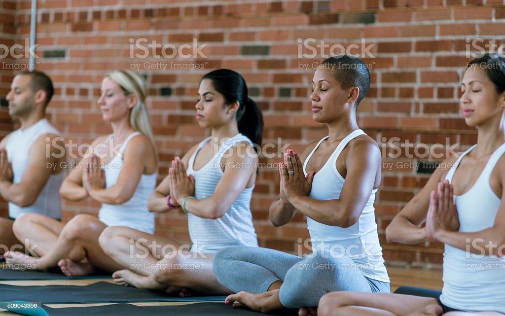 Calmly Meditating stock photo