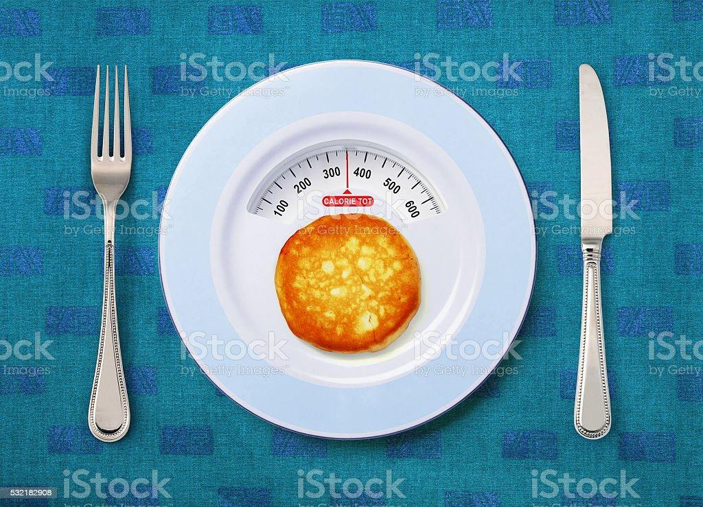 calorie tot of pancake stock photo