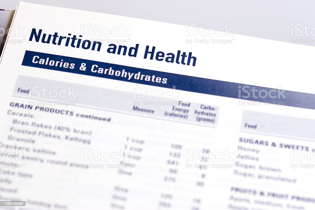 Calories and Carbs stock photo