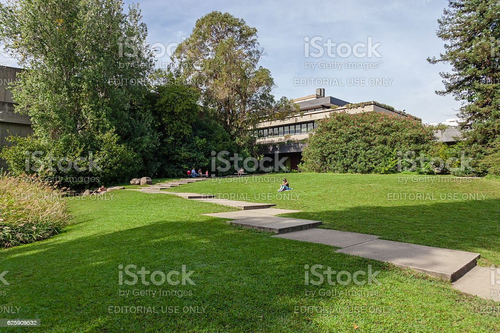 Calouste Gulbenkian foundation garden with a view of the lawns. stock photo