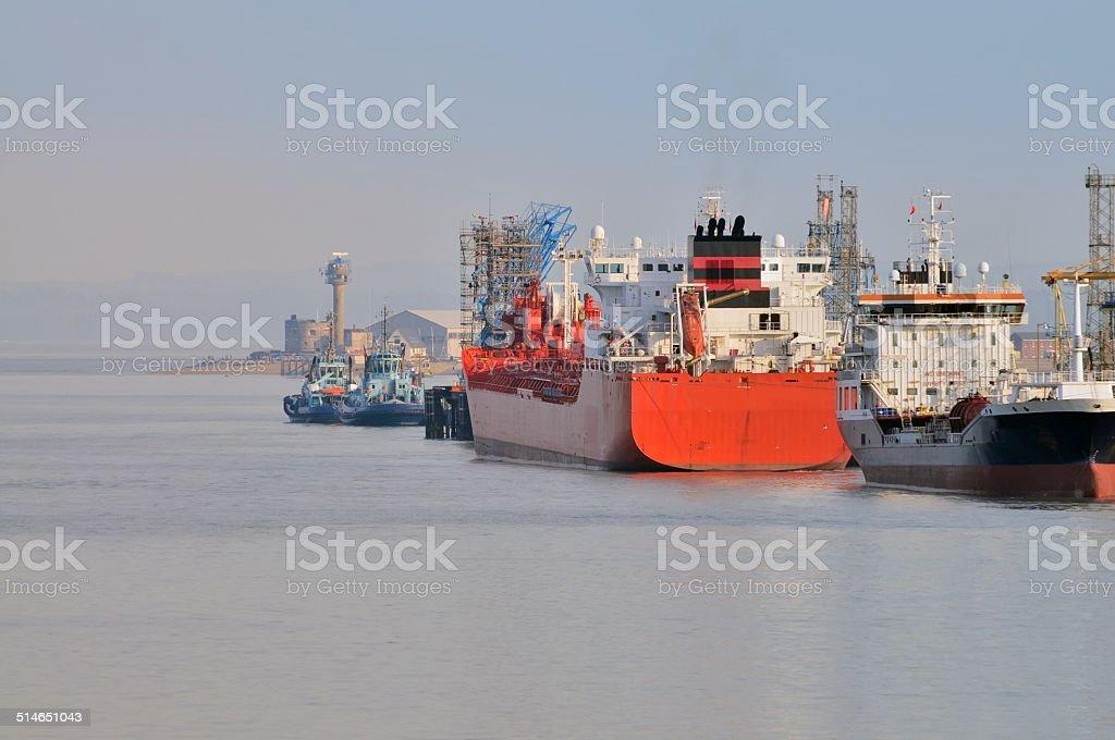 Calshot Tower Cargo Ships stock photo