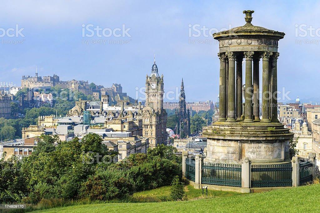 Calton Hill Cityscape, Edinburgh, Scotland stock photo