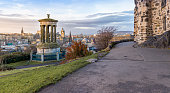 Calton Hill with city of Edinburgh on the background