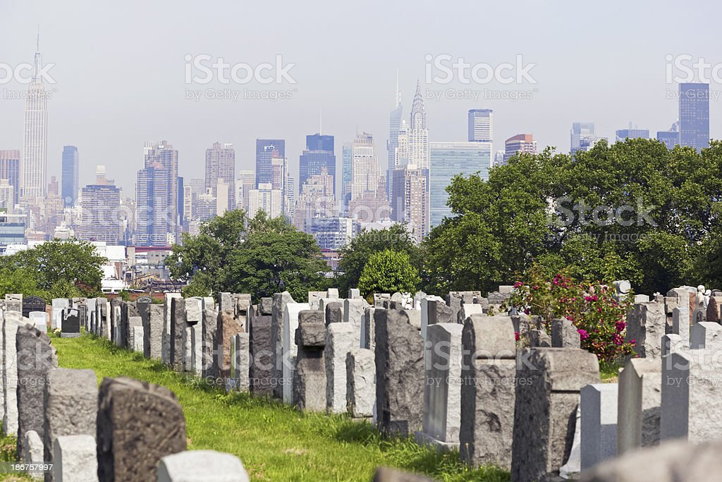 Calvary Cemetery in Queens with view on New York stock photo