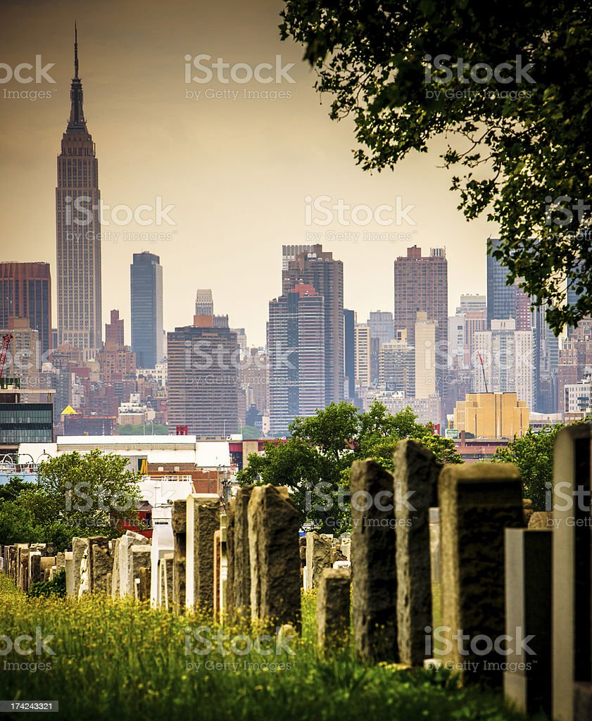 Calvary Cemetery in Queens with view on New York, USA stock photo