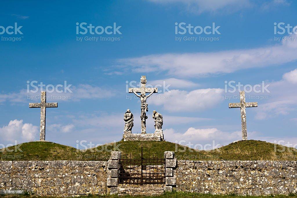 Calvary crucifixion sculpture in Croatia stock photo