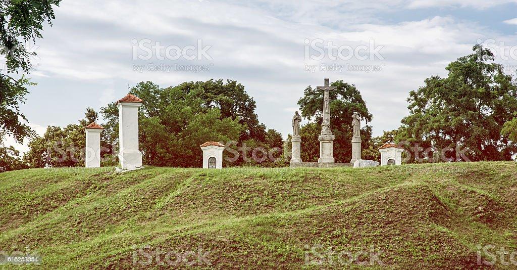 Calvary in Skalica city, Slovakia, retro photo filter stock photo