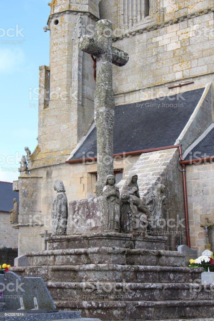 Calvary of Saint Tugen chapel in Primelin stock photo