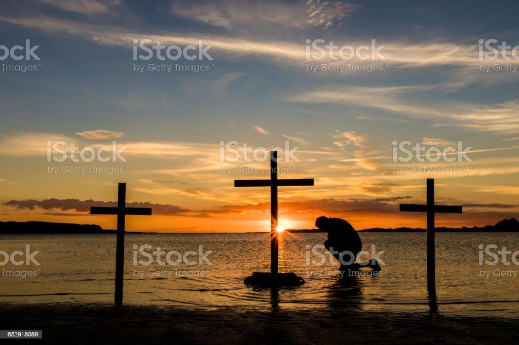 Calvary Prayer stock photo