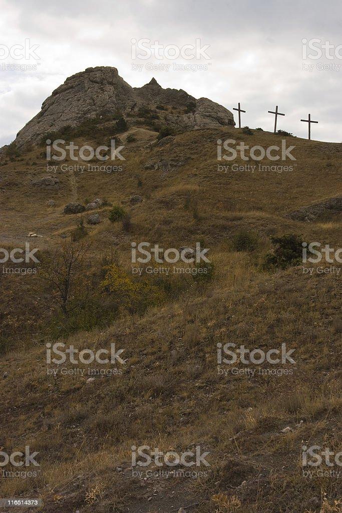 Calvary. three cross on the hill stock photo