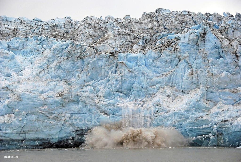 Calving of Ice on a Glacial Face stock photo