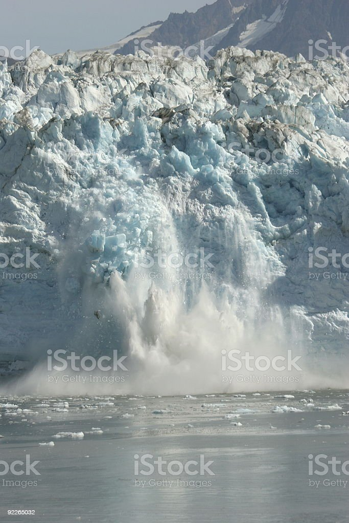 Calving of the Hubbard Glacier stock photo