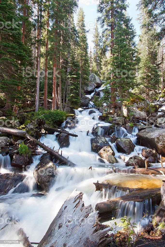 Calypso cascades in Rocky Mountains National Park, Colorado stock photo