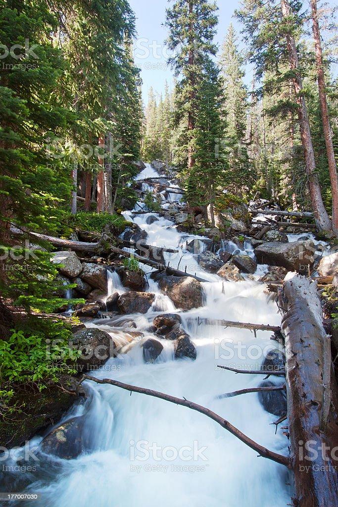 Calypso cascades in Rocky Mountains National Park stock photo