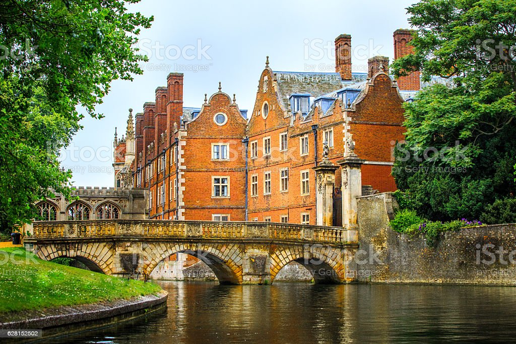 Cam Canal of Cambridge University view, England. stock photo
