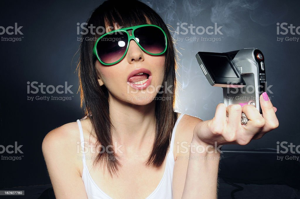 Cam girl pink stock photo