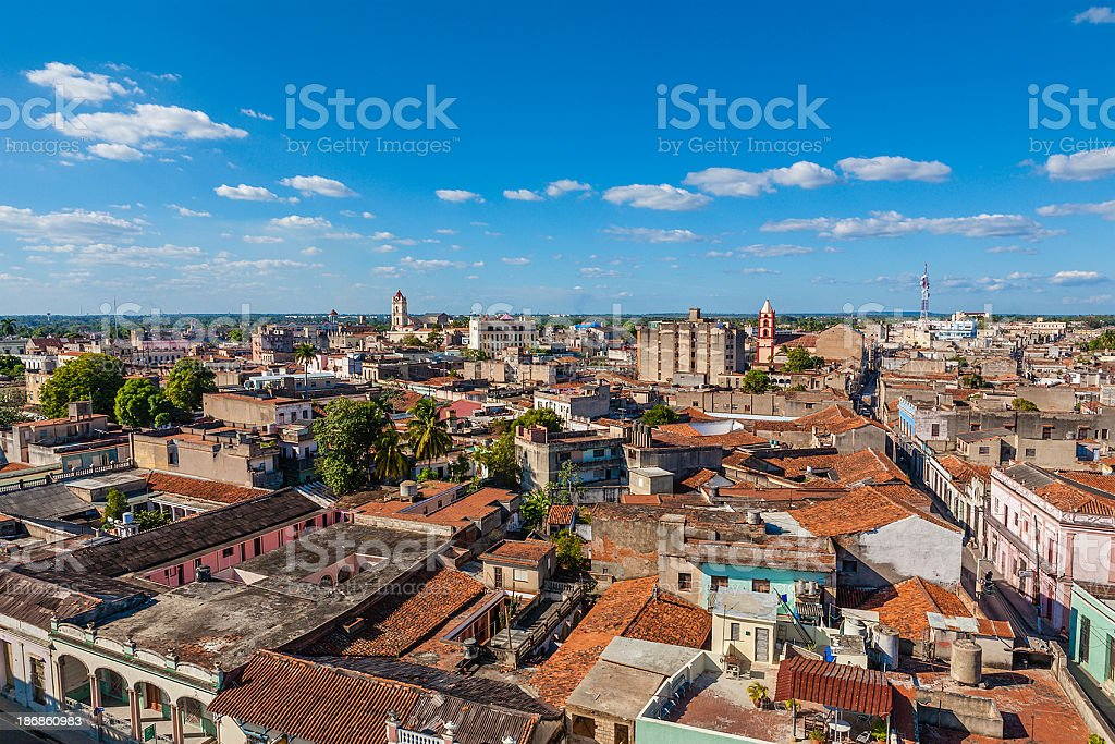 Camagüey from above, Cuba stock photo
