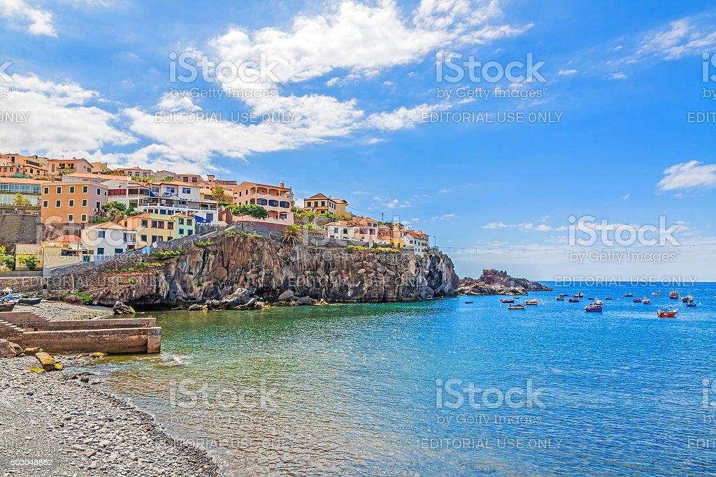Camara de Lobos harbor, Madeira with fishing boats stock photo