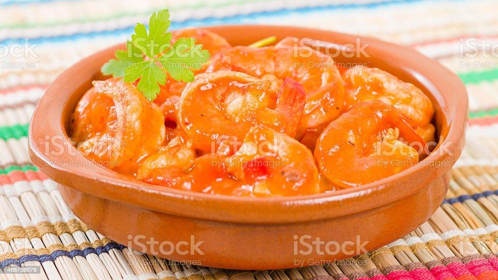 Camarones Enchilados stock photo