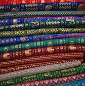 Cambodia: embroidered silk for sale in Siem Reap