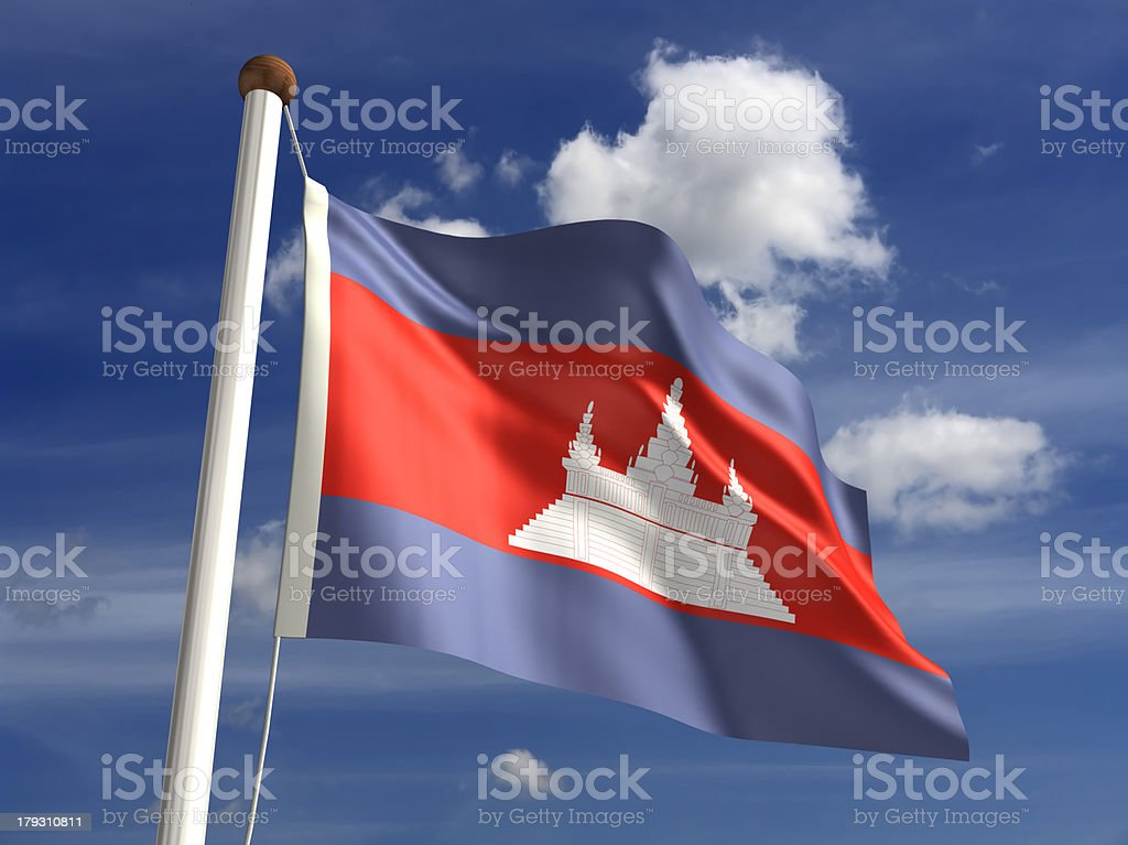 Cambodia flag (with clipping path) royalty-free stock photo