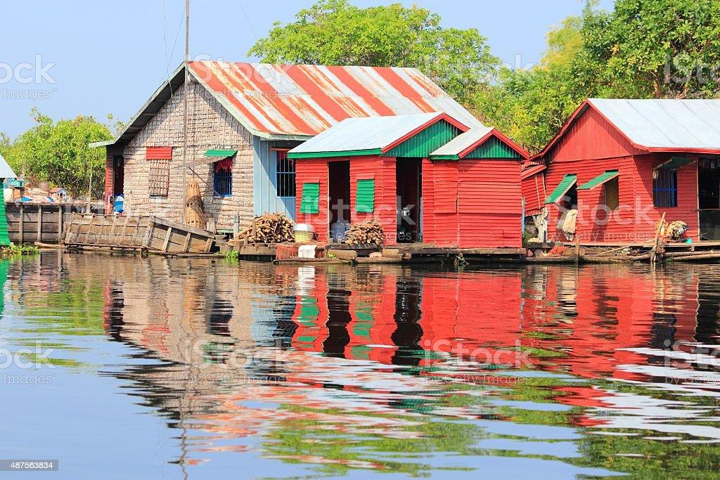 Cambodia floating village stock photo