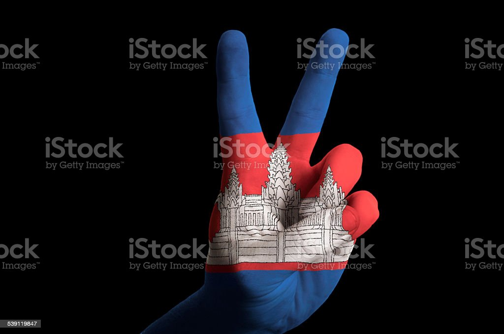 Cambodia National Flag Two Finger Up Gesture For Victory Stock Photo