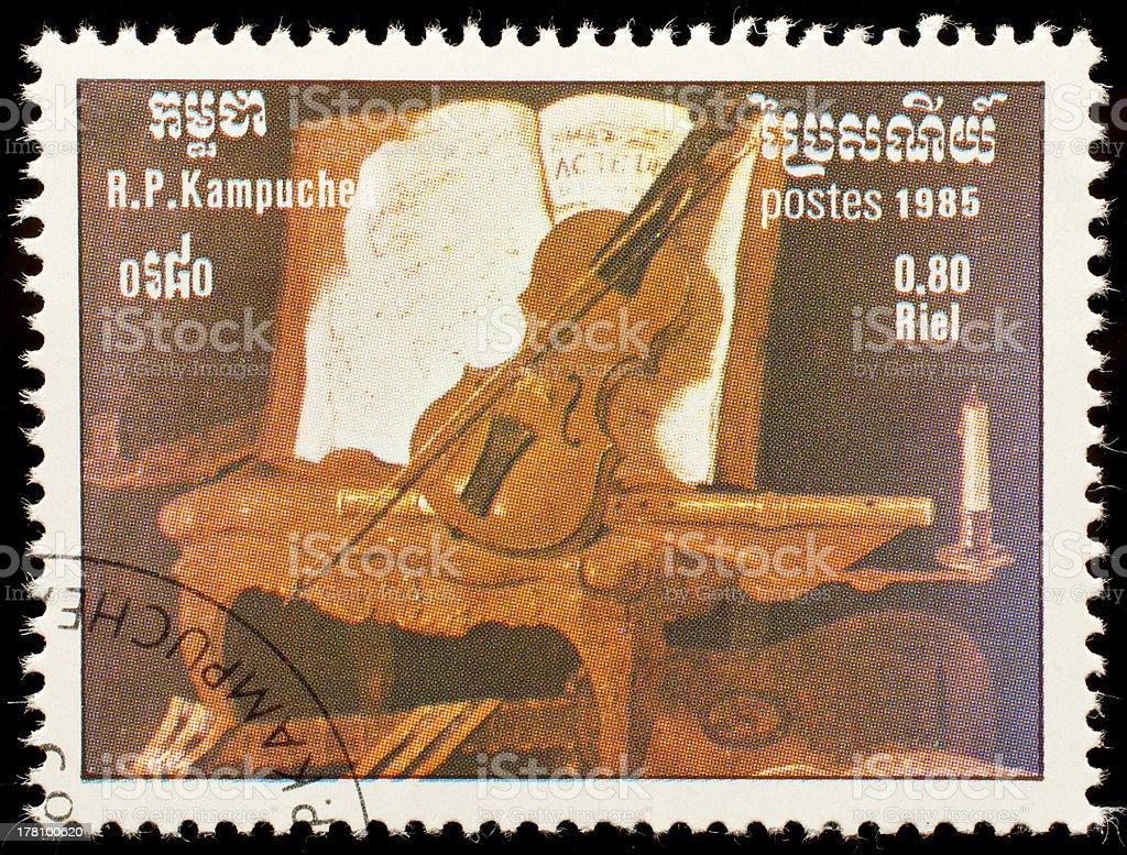 Cambodia postage stamp royalty-free stock photo