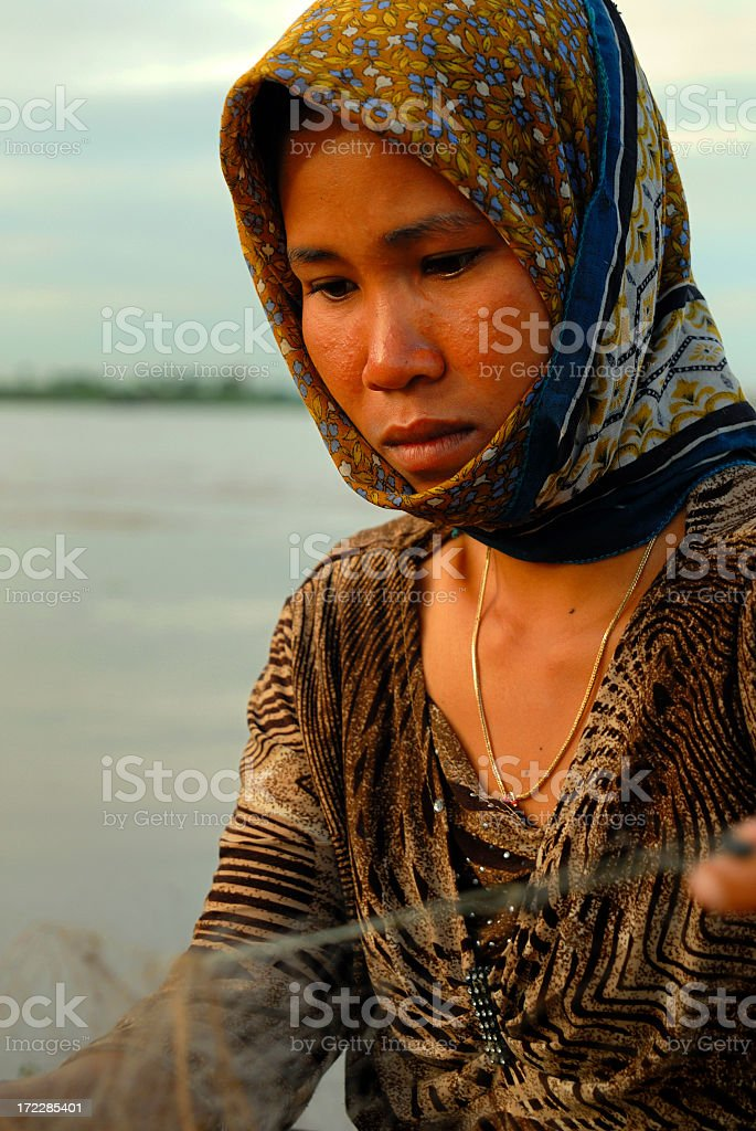 Cambodian Boat Lady royalty-free stock photo