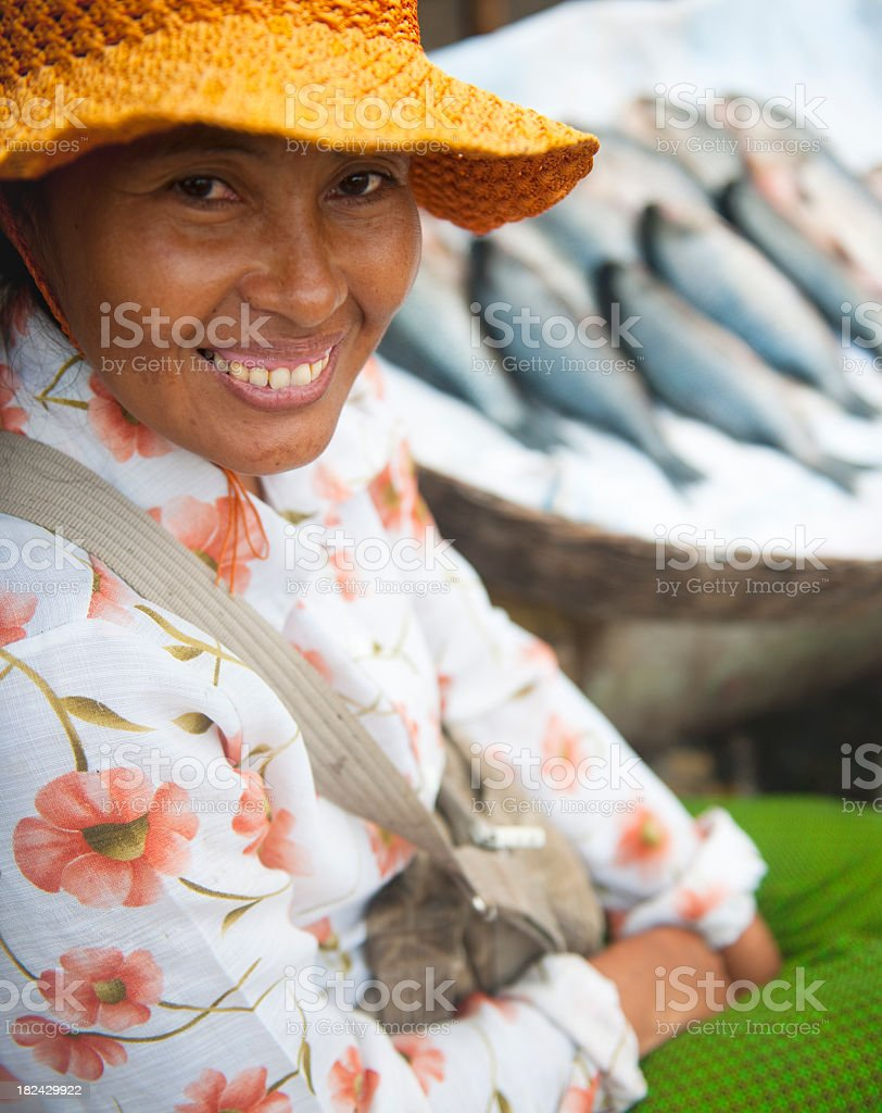 Cambodian Fish Market Seller royalty-free stock photo